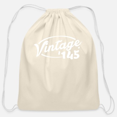 Age Vintage '145 Birthday shirt by RetroNumber - Cotton Drawstring Bag