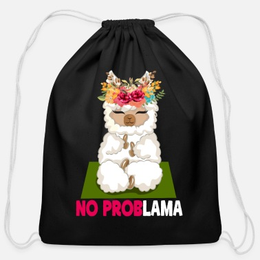 Psychology No Prob Lama Alpaca Yoga Spell Llamas - Cotton Drawstring Bag