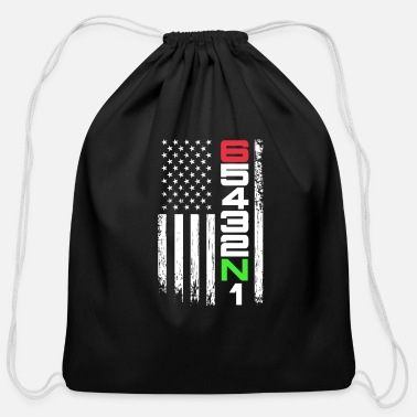Motorcycle 65432N1 Gear Motorcycle USA American Flag - Cotton Drawstring Bag
