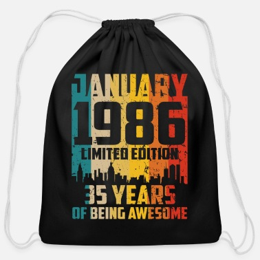 Edition 35th Birthday 35 Years Man Vintage 1986 January - Cotton Drawstring Bag