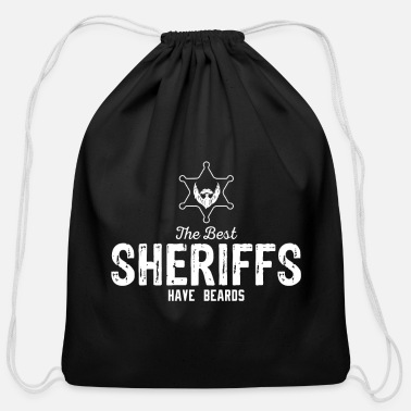 Police Officer Best Sheriff with Beard Sheriff Star Shotgun - Cotton Drawstring Bag