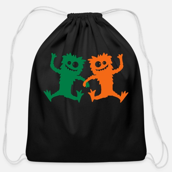Hairy Bags & Backpacks - 2 Party Monster team dancing hairy - Cotton Drawstring Bag black