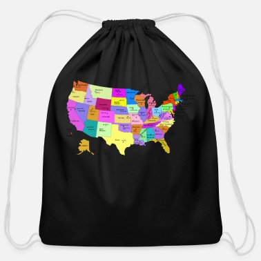 State Capital United States Map With Capitals (Fixed) - Cotton Drawstring Bag