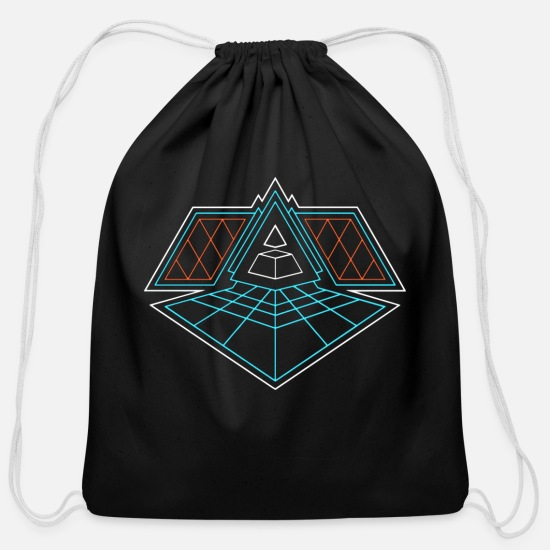 Aesthetic Bags & Backpacks - Mt. Grid - Cotton Drawstring Bag black