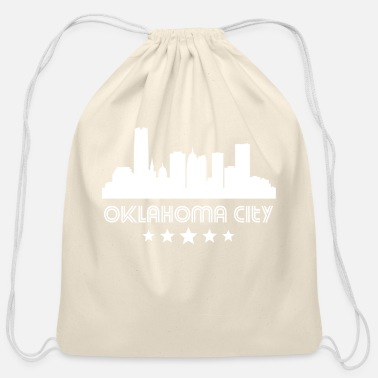 City Retro Oklahoma City Skyline - Cotton Drawstring Bag