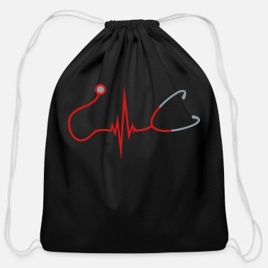 Stethoscope frequency stethoscope listening heart beat pulse d - Cotton Drawstring Bag