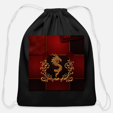 Aweseome Aweseom dragon with floral elements - Cotton Drawstring Bag