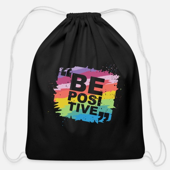 Love Bags & Backpacks - be positive - Cotton Drawstring Bag black