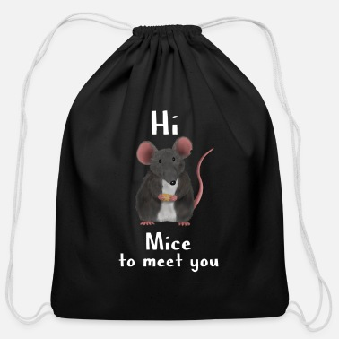 Mouse Maus / Ratte / rat mice - mice to meet you - Cotton Drawstring Bag