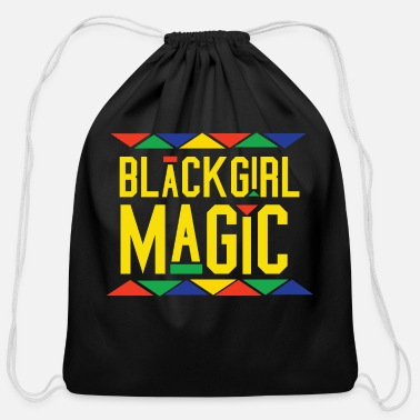 African Black Girl Magic - Tribal Design (Yellow Letters) - Cotton Drawstring Bag