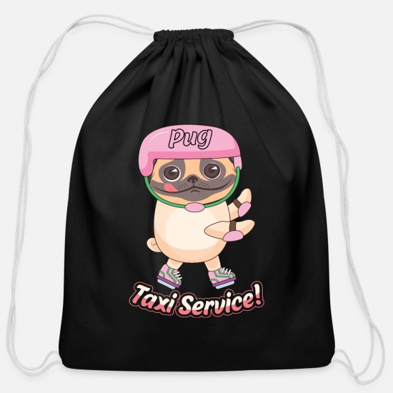 Pet Bags & Backpacks - Pug Taxi Servise funny animal Tee - Cotton Drawstring Bag black