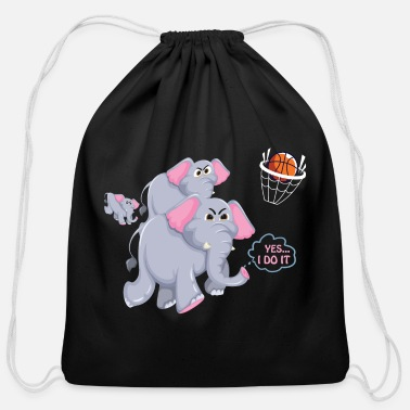 Die Elephant plays basketball funny Tee - Cotton Drawstring Bag