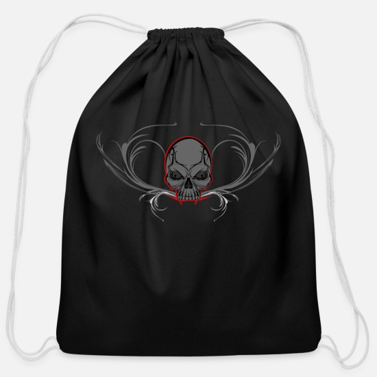 Movie Bags & Backpacks - Ornament Skull - Cotton Drawstring Bag black