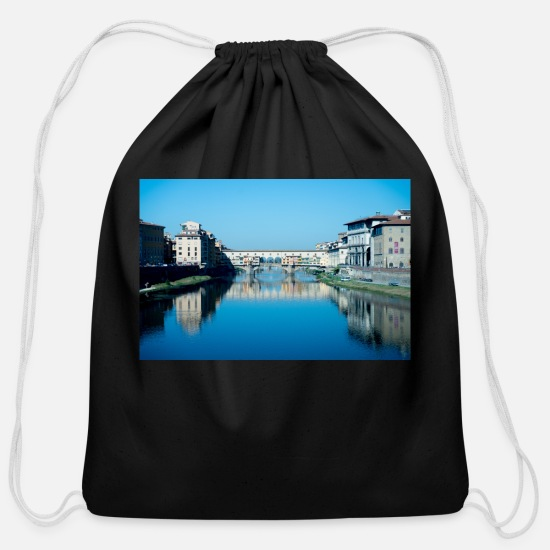 Reflection Bags & Backpacks - Bridges of Florence Italy II - Cotton Drawstring Bag black