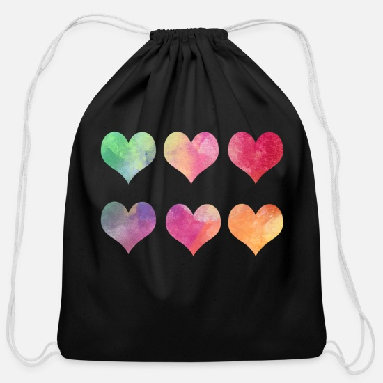 Valentine's Day Bags & Backpacks - hearts - Cotton Drawstring Bag black