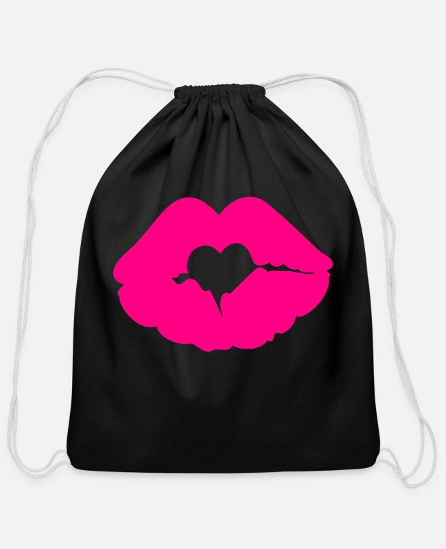 Xoxo Kiss I Love You Sweetheart Lovely Sexy Lips Bags & Backpacks - ♥ټXxSexy Hearted Pink Luscious Sensual Lips xXټ♥ - Cotton Drawstring Bag black