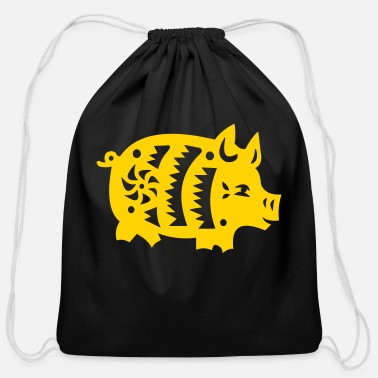 Astrology pig - Cotton Drawstring Bag