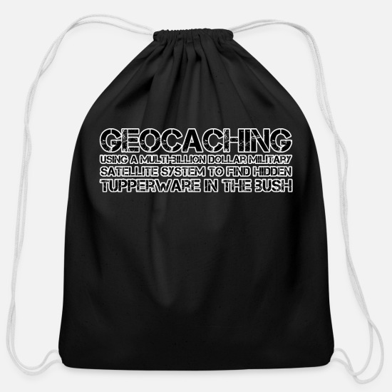 Adventure Bags & Backpacks - Geocaching Military Satellite System - Cotton Drawstring Bag black