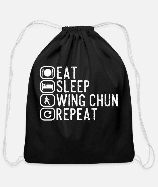 Funny Graduation Sayings Bags & Backpacks - Wing Chun spell gift - Cotton Drawstring Bag black