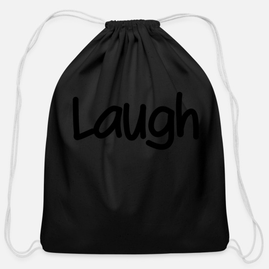 Pretty Bags & Backpacks - Laugh - Cotton Drawstring Bag black