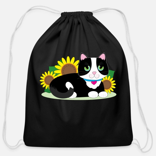Young Bags & Backpacks - tuxedo cat - Cotton Drawstring Bag black