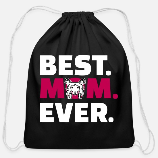 Mummy Bags & Backpacks - Chinese Crested - Cotton Drawstring Bag black