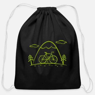 New Age Cartoon bike tour with mountains and forest - Cotton Drawstring Bag