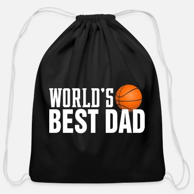 Simple World's Best Dad Typography Basketball - Cotton Drawstring Bag