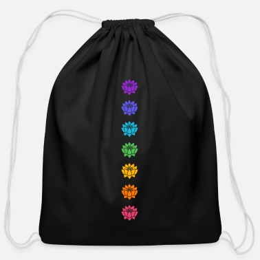 Lotus Chakras, Cosmic Energy Centers, Evolution - Cotton Drawstring Bag