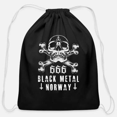 Gothic Black Metal Norway Skull with bones gift - Cotton Drawstring Bag