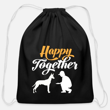 Silhouette Happy Together - Pharaoh dog & dog owners - Cotton Drawstring Bag