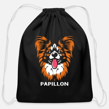 Husband Papillon Puppy Dog Owner Mom Wife Husband Funny - Cotton Drawstring Bag