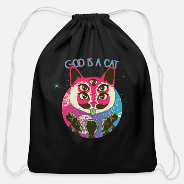 Abstract Music God is a cat Astro Trance - Cotton Drawstring Bag
