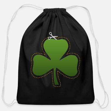 Dark Irish Shamrock Cutout Dark - Cotton Drawstring Bag