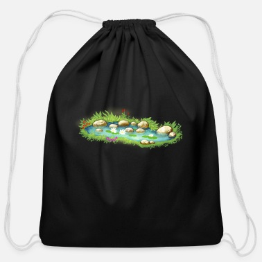 Garden Pond garden pond pool plants - Cotton Drawstring Bag