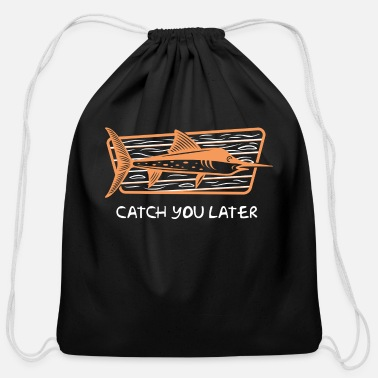 Flounder Funny Flounder - Catch You Later - Fishing Humor - Cotton Drawstring Bag