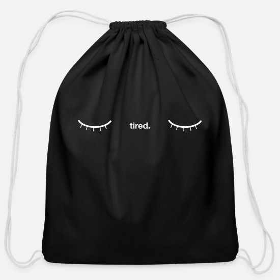 Bed Bags & Backpacks - tired - Cotton Drawstring Bag black