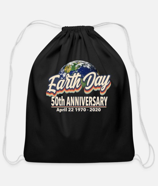 Earth Day Anniversary Bags & Backpacks - Classic Retro Earth Day 50th Anniversary - Earth D - Cotton Drawstring Bag black