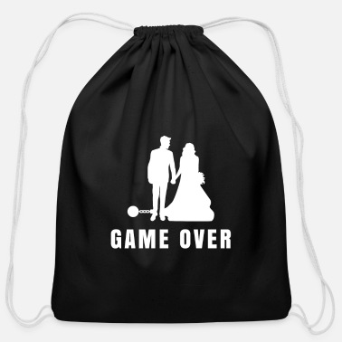 Game Over Groom Gift Husband Men - Cotton Drawstring Bag