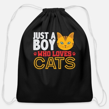Boy Who Loves Cats - Cotton Drawstring Bag