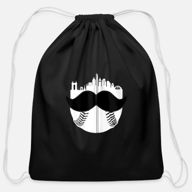 Cincinnati Moustache Baseball Skyline Vintage Retr - Cotton Drawstring Bag