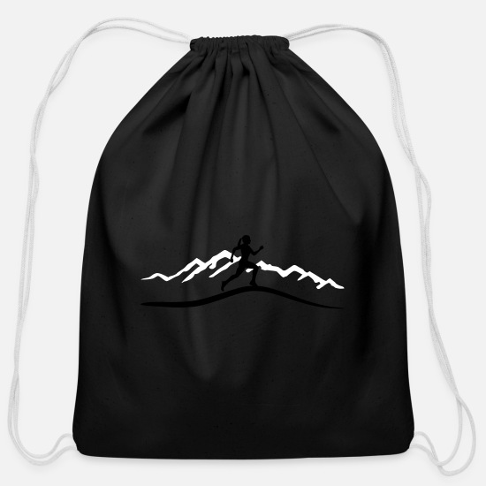 Mountain Running Bags & Backpacks - Running Woman, Runner & Mountains - Cotton Drawstring Bag black