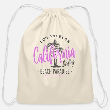 Angel California Surfing Los Angeles Beach Paradise - Cotton Drawstring Bag
