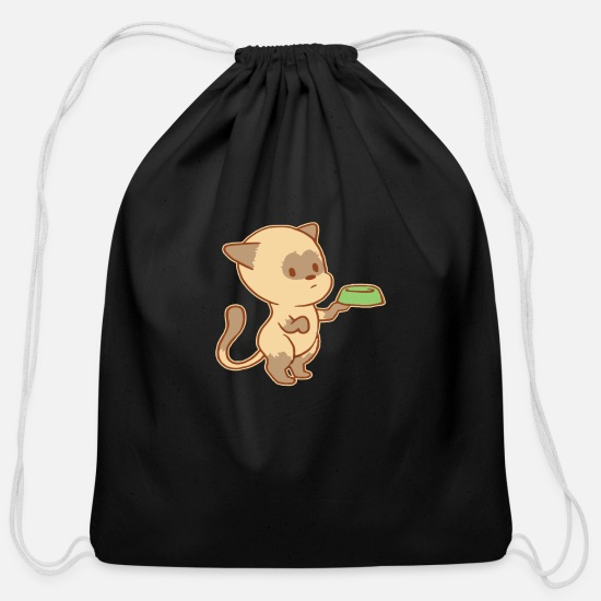 Cute Dog Bags & Backpacks - Cute Begging Cat Tshirt - Cotton Drawstring Bag black