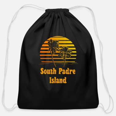 Island South Padre Island Texas Sunset Palm Trees - Cotton Drawstring Bag