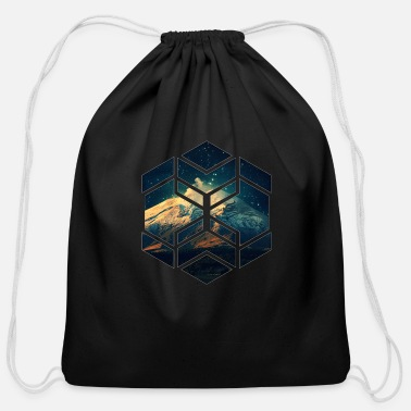 Hexagon Hexagon Space - Cotton Drawstring Bag
