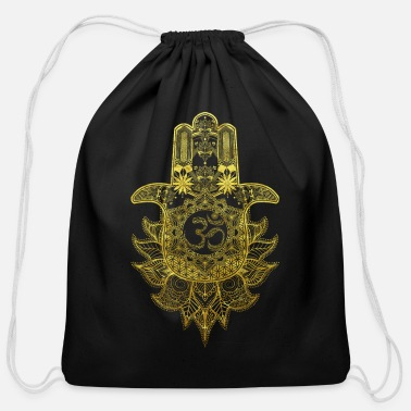 Meditation Hamsa Hand Mandala with Om sign in gold design - Cotton Drawstring Bag