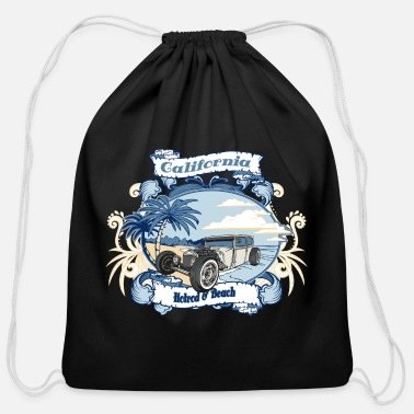 California Hotrod & Beach - Cotton Drawstring Bag