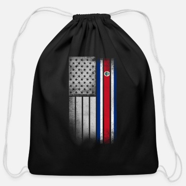 American Costa Rican American Flag - Cotton Drawstring Bag