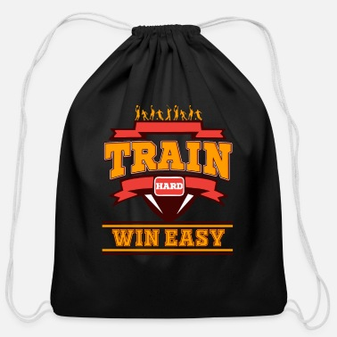 Sportsmanship Train hard win easy Sportsmanship Discipline World - Cotton Drawstring Bag